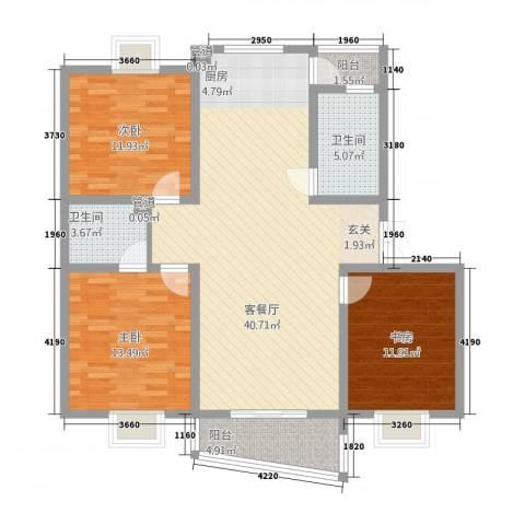 奥体中心公寓3室1厅2卫0厨133.00㎡户型图