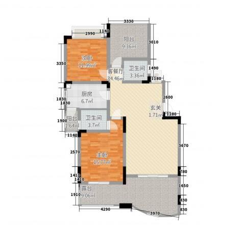 同景国际城香溪迈上2室1厅2卫1厨151.00㎡户型图