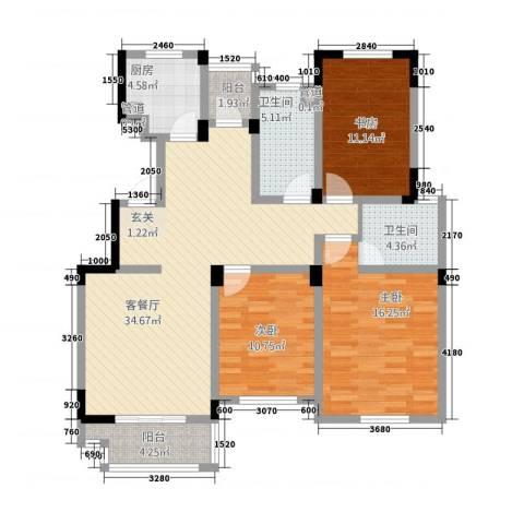 奥体中心公寓3室1厅2卫1厨93.24㎡户型图