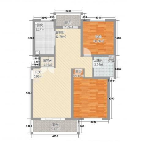 星屿仁恒2室1厅1卫1厨76.17㎡户型图