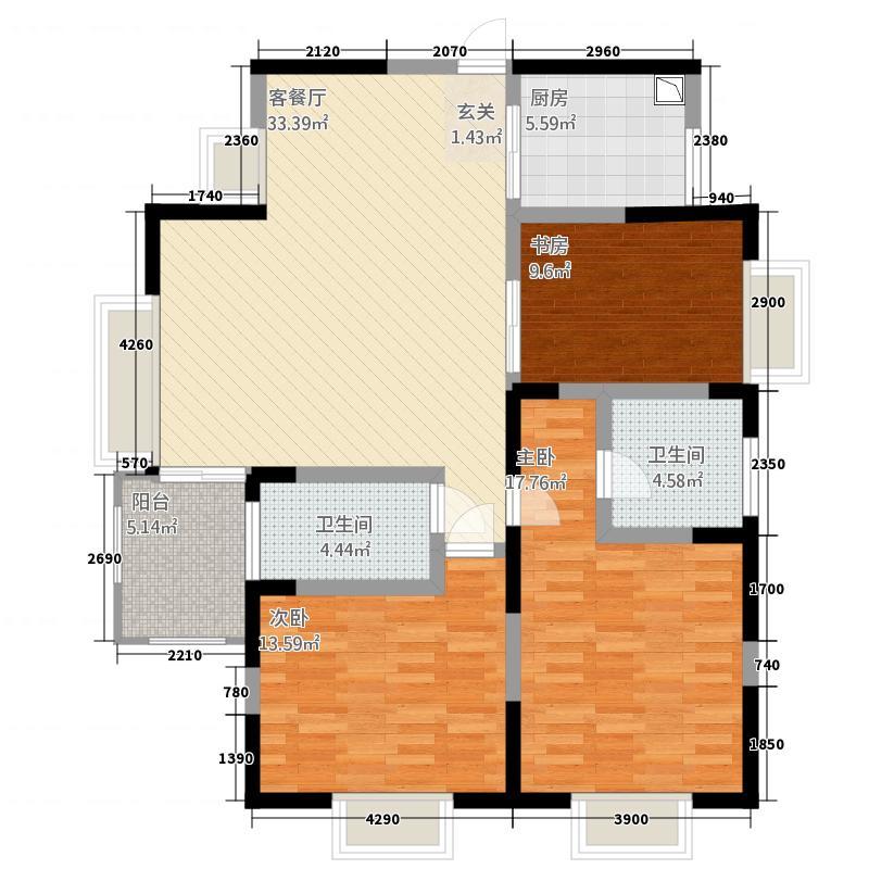 惠兰园17.00㎡户型3室