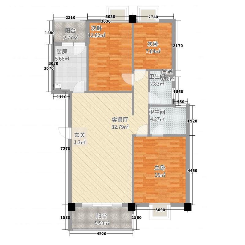 傲云峰124.58㎡C户型3室2厅2卫1厨