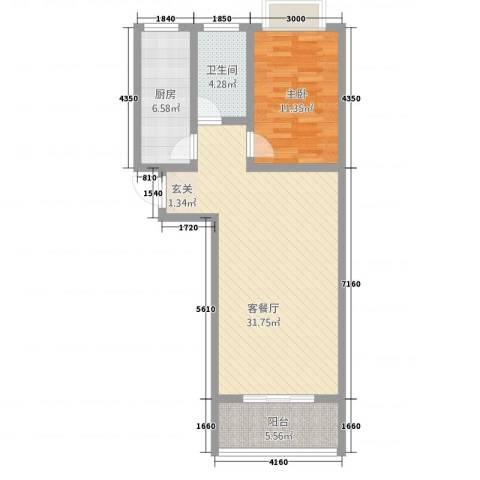 御墅林峰1室1厅1卫1厨86.00㎡户型图