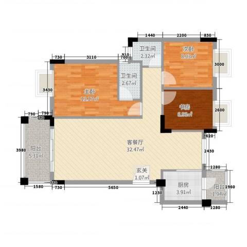 钜隆金溪蓝湾3室1厅2卫1厨108.00㎡户型图