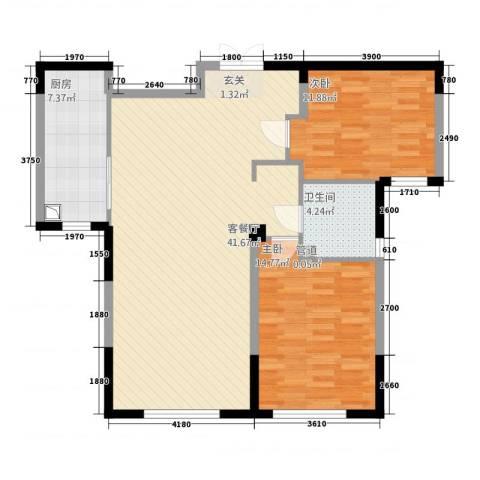 万顺空港融和广场雅仕阁公寓2室1厅1卫1厨111.00㎡户型图