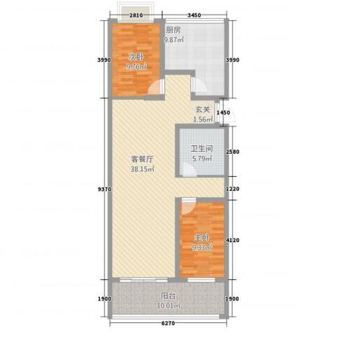 御墅林峰2室1厅1卫1厨119.00㎡户型图