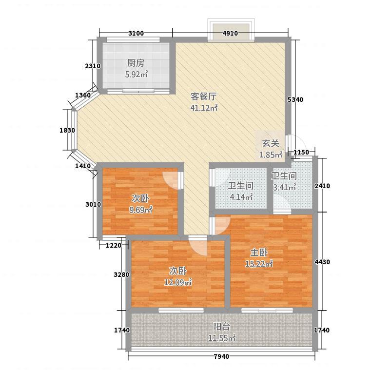 御墅林峰147.80㎡3户型3室2厅2卫