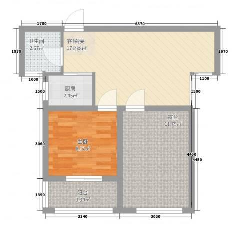 桔子公民1室1厅1卫1厨66.00㎡户型图