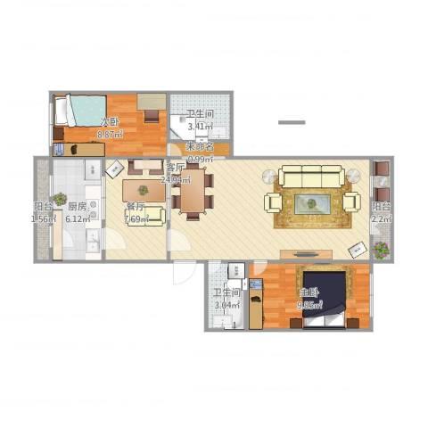 长青北里12-58-5022室2厅2卫1厨94.00㎡户型图