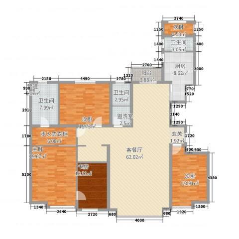 奥泰格林山水城5室2厅3卫1厨222.00㎡户型图