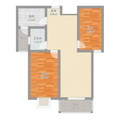 地久艳阳天2室1厅1卫1厨95.00㎡户型图