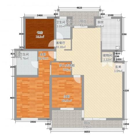 星屿仁恒3室1厅2卫1厨148.00㎡户型图