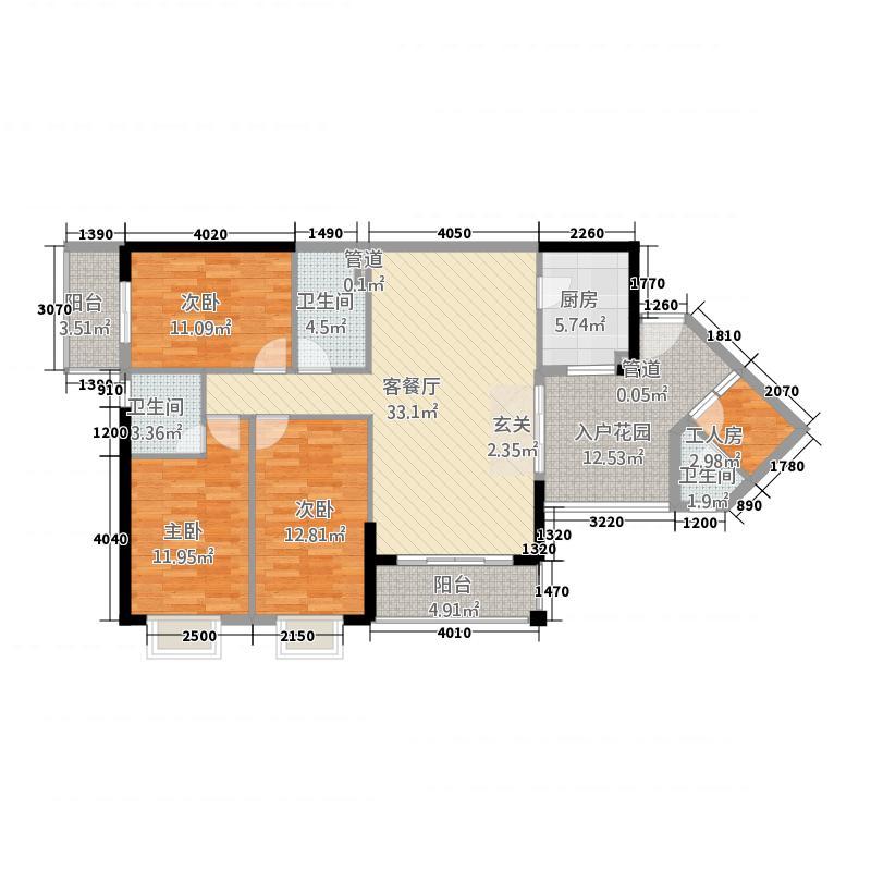 金河水岸户型3室2厅