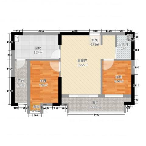 北城阳光尚线2室1厅1卫1厨70.00㎡户型图