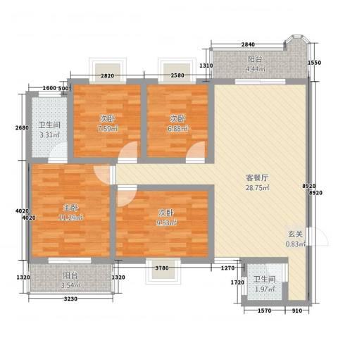 科教新村4室1厅2卫0厨113.00㎡户型图