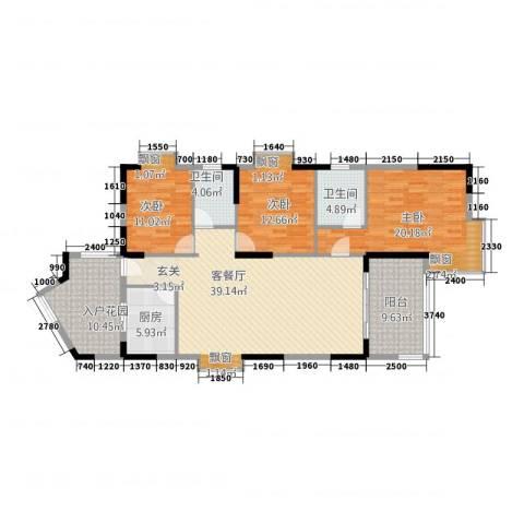 江南名居南区锦苑3室1厅2卫1厨137.00㎡户型图
