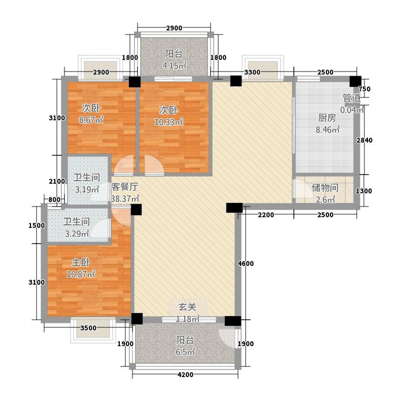 龙腾登高1123.20㎡(1)户型3室2厅1卫1厨