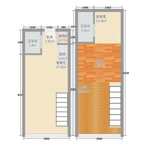 馨泰花园1厅2卫0厨93.00㎡户型图