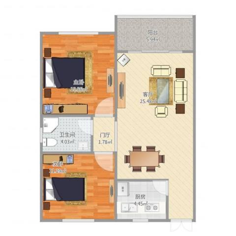 侨建花园2室1厅1卫1厨72.00㎡户型图