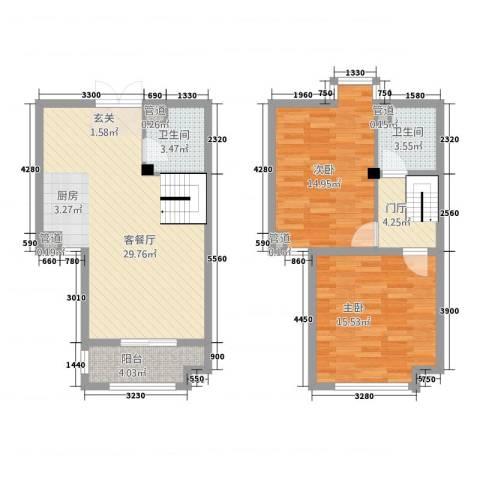 泰和・水岸嘉园2室1厅2卫0厨109.00㎡户型图