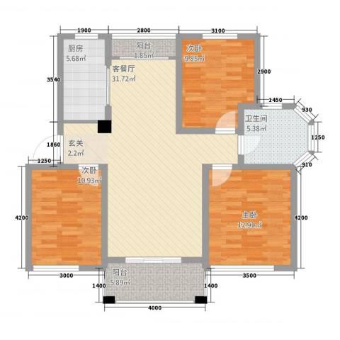 天徽商业广场3室1厅1卫1厨121.00㎡户型图