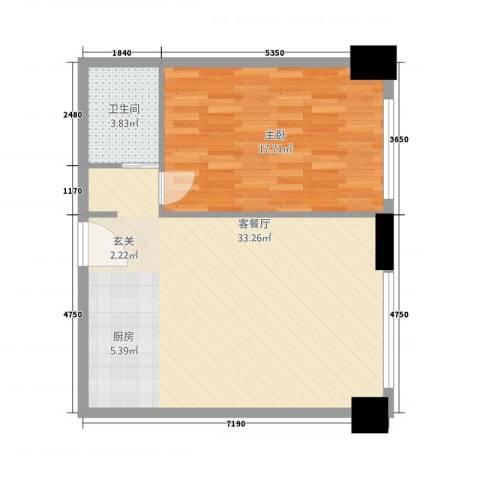 宋都奥体名座1室1厅1卫0厨76.00㎡户型图