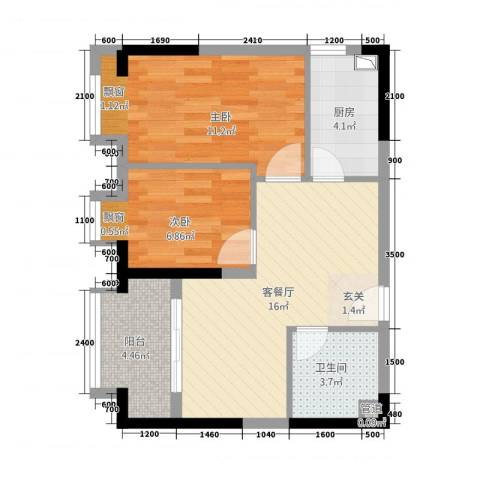 北城阳光尚线2室1厅1卫1厨67.00㎡户型图