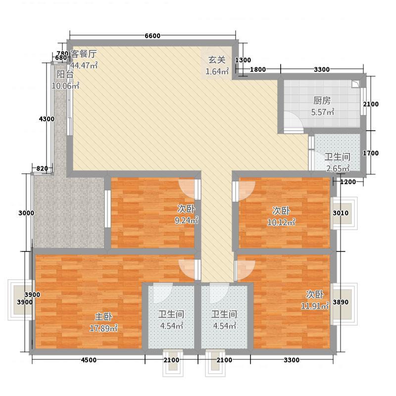 西源时代花城141.97㎡I型户型4室2厅2卫1厨