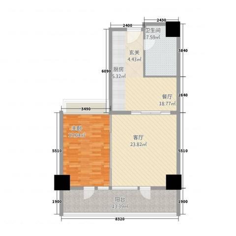 世纪之帆1室2厅1卫0厨115.00㎡户型图