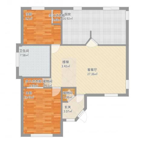 孔雀湖原乡国际假日基地2室1厅1卫1厨112.00㎡户型图