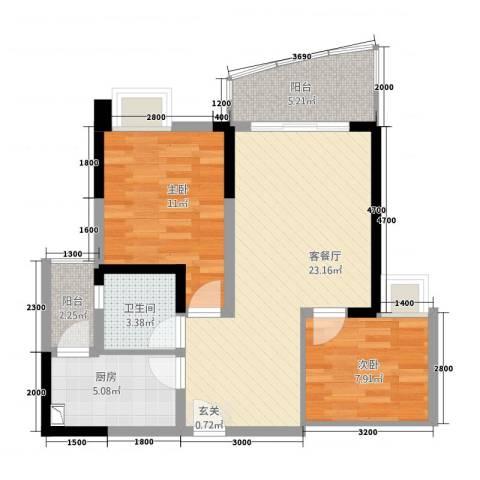 HIGH空间2室1厅1卫1厨84.00㎡户型图