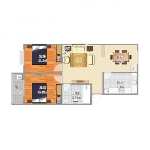 天鸿世纪城2室1厅1卫1厨92.00㎡户型图
