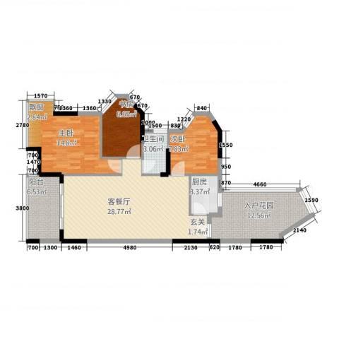江南名居南区锦苑3室1厅1卫1厨83.58㎡户型图