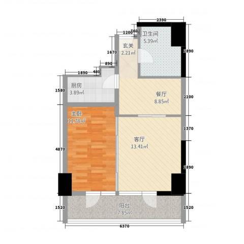 世纪之帆1室2厅1卫1厨76.00㎡户型图