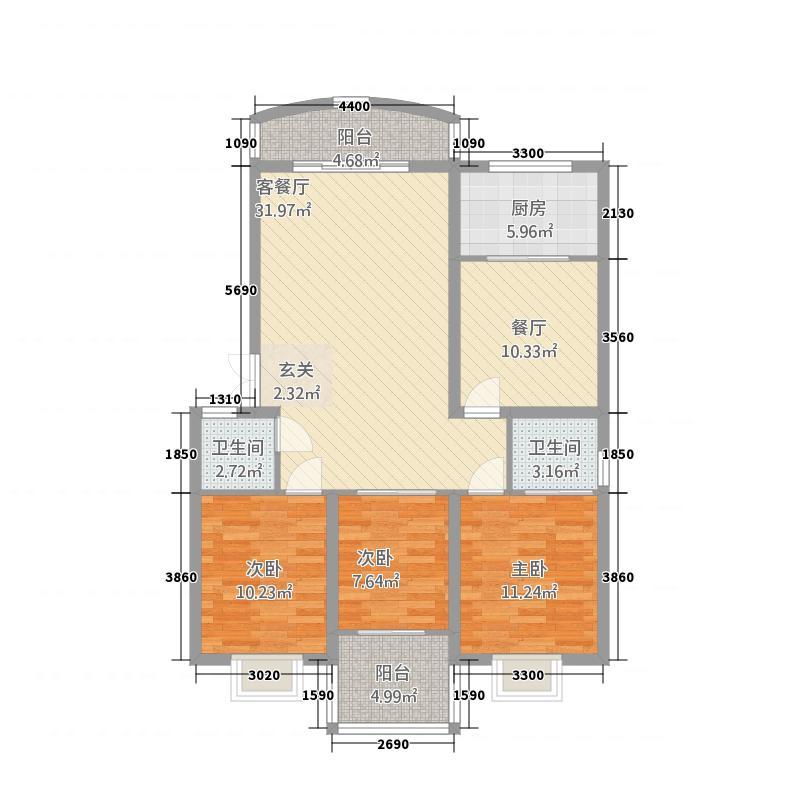 石林东城商贸中心114.00㎡2户型3室2厅2卫1厨