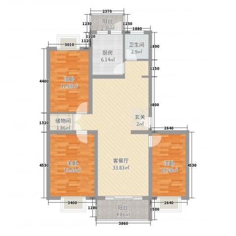 中浦家园二期3室1厅1卫1厨125.00㎡户型图
