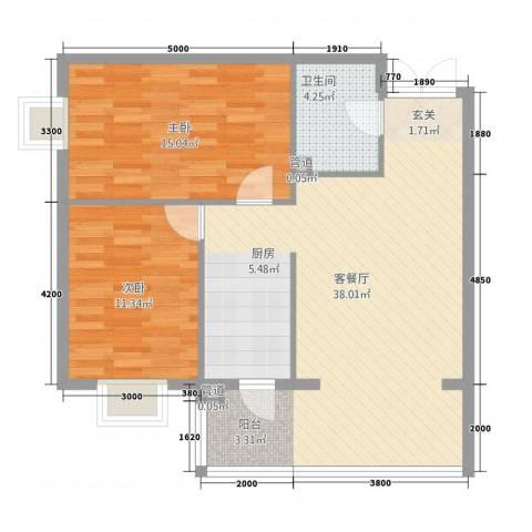 新大发国际广场2室1厅1卫0厨95.00㎡户型图