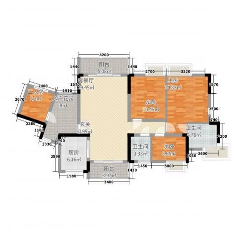 勒水名筑3室1厅2卫1厨128.00㎡户型图