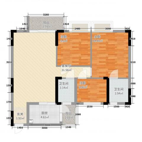 勒水名筑3室1厅2卫1厨113.00㎡户型图