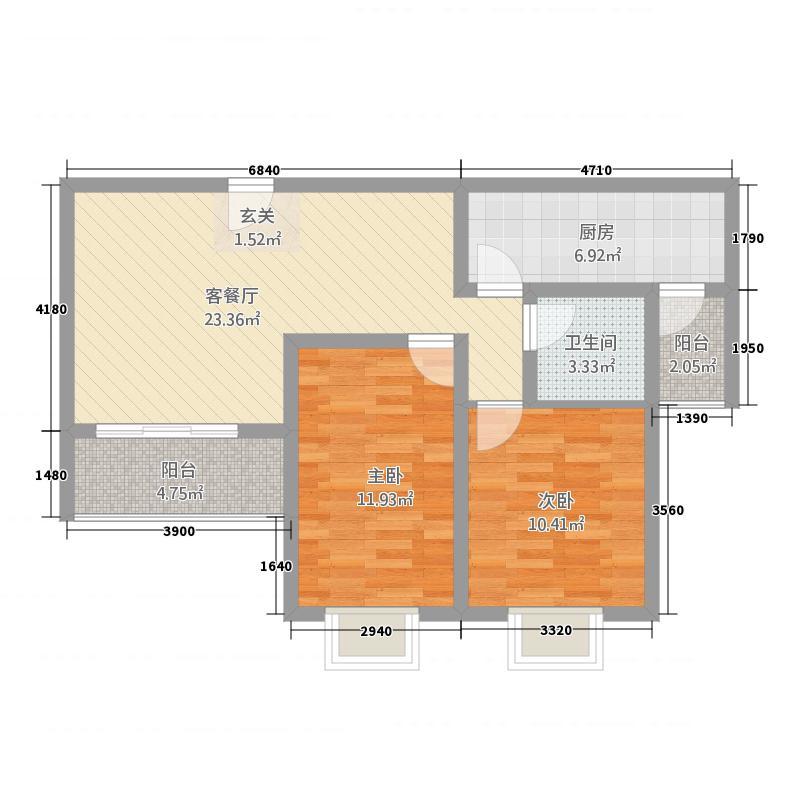 中浦家园二期户型2室