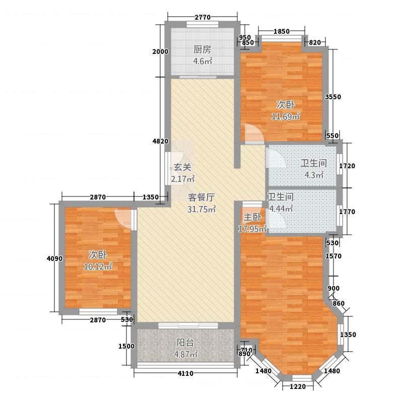 富甲127.36㎡小区G1户型3室2厅2卫1厨