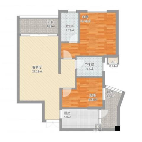 盛世华南2室1厅2卫1厨108.00㎡户型图