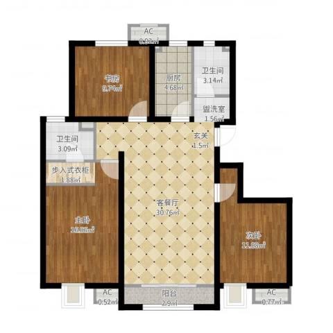 中国铁建·青秀尚城3室1厅2卫1厨121.00㎡户型图
