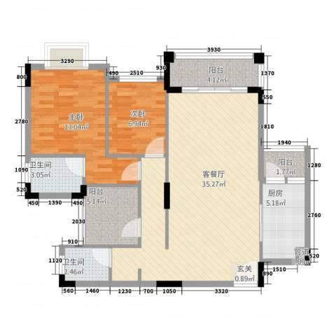钜隆金溪蓝湾2室1厅2卫1厨89.00㎡户型图