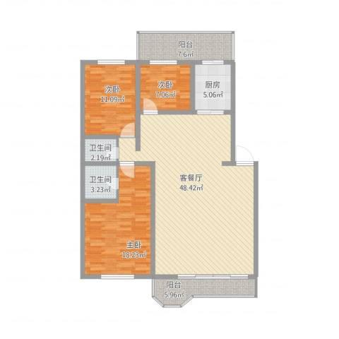 郁金花园3室1厅2卫1厨154.00㎡户型图