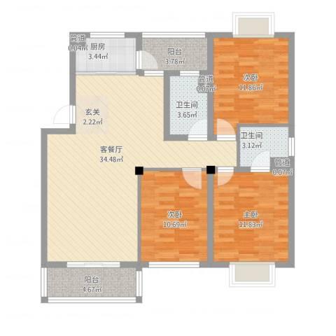 华泰剑桥3室1厅2卫1厨126.00㎡户型图