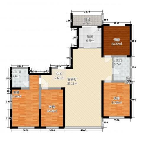 桐楠格翡翠城4室1厅2卫1厨181.00㎡户型图