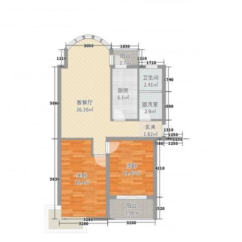 中浦家园二期2室2厅1卫1厨100.00㎡户型图