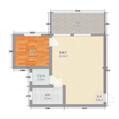 湘子嘉园1室1厅1卫1厨71.00㎡户型图