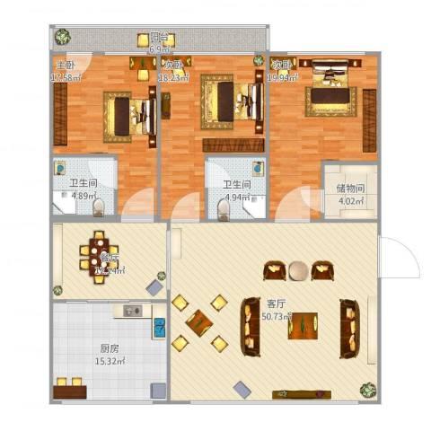 东方城3室2厅2卫1厨206.00㎡户型图